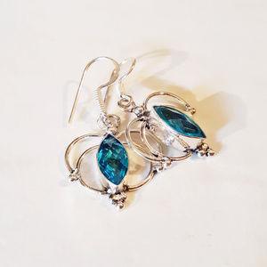 London Blue Topaz + Silver Dangle Earrings